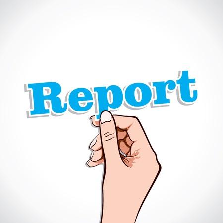 Report word in hand stock vector Stock Vector - 17791029