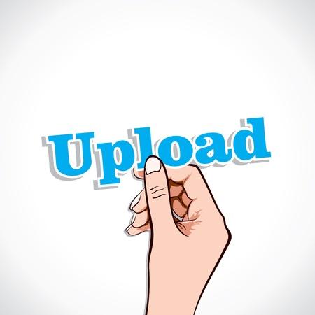Upload word in hand stock vector Stock Vector - 17791025
