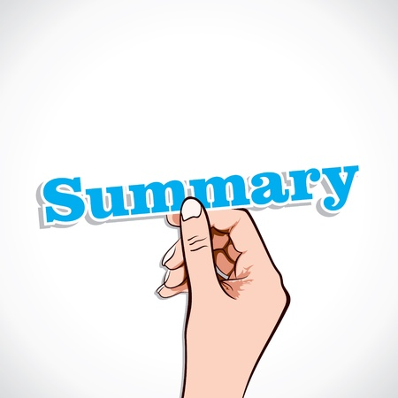 synopsis: Summary word in hand stock vector