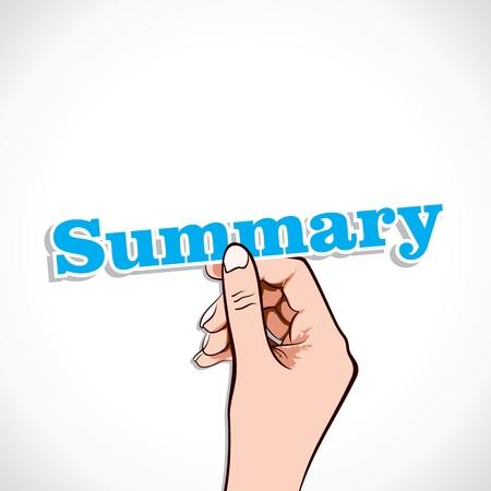summary: Summary word in hand stock vector
