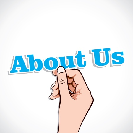 about us: About Us word in hand stock vector