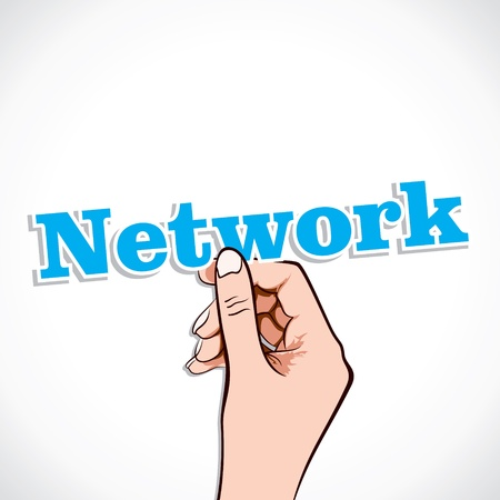 Network word in hand stock vector Stock Vector - 17791027