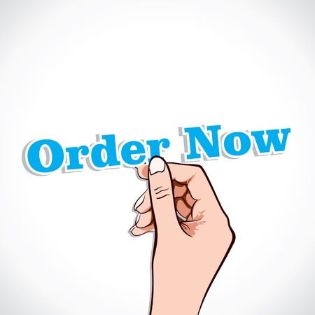 Order Now word in hand stock vector Stock Vector - 17791033