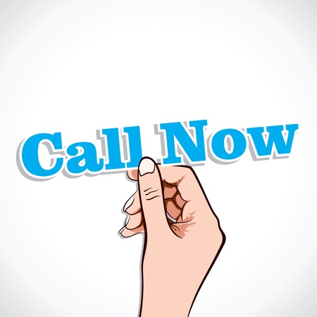 Call Now word in hand stock vector Stock Vector - 17791026