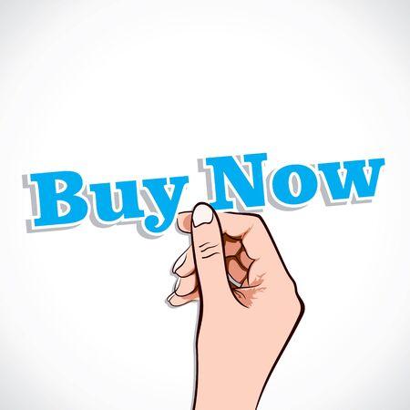 Buy Now word in hand stock vector Stock Vector - 17791024