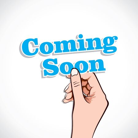 Coming Soon word in hand stock vector Vector