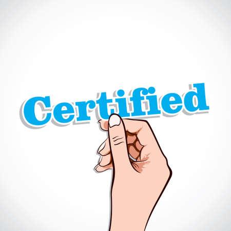 Certified word in hand stock vector Ilustração