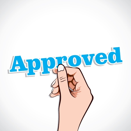 Approved word in hand stock vector Vector