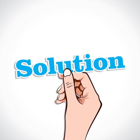 Solution word in hand stock vector Stock Vector - 17776236
