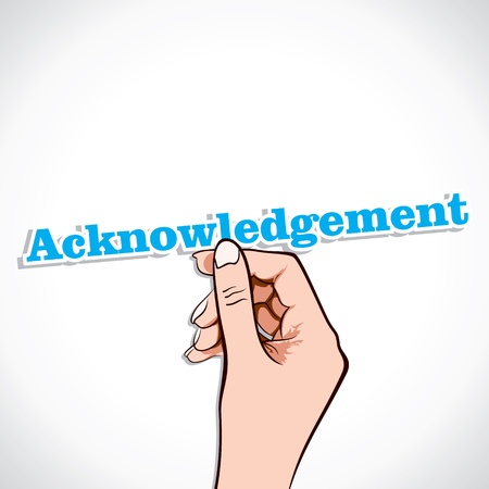 acknowledgement: Acknowledgement word in hand stock vector