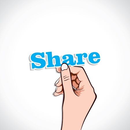 Share word in hand stock vector Stock Vector - 17776260