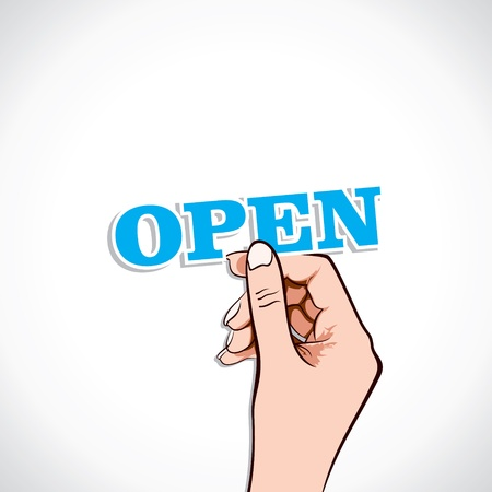 Open word in hand stock vector Stock Vector - 17776251