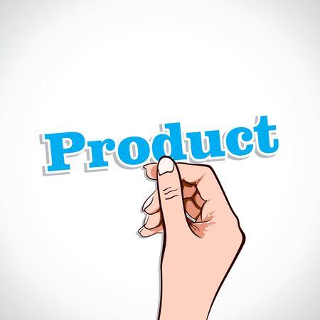 Product word in hand stock vector Stock Vector - 17776235