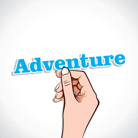Adventure word in hand stock vector Stock Vector - 17776240