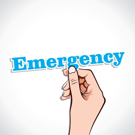 Emergency word in hand stock vector Vector
