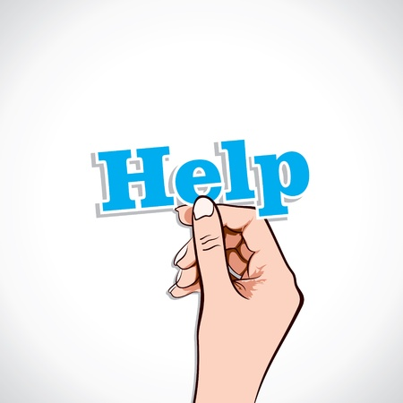 humanitarian aid: Help word in hand stock vector