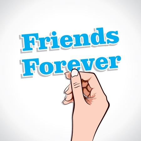 amigo: Amigos para siempre la palabra en la mano stock vector Vectores