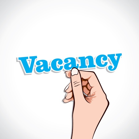 Vacancy word in hand stock vector Stock Vector - 17776215