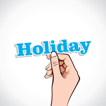 Holiday word in hand stock vector Stock Vector - 17776219