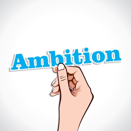 ambition: Ambition Word In Hand Stock Vector Illustration