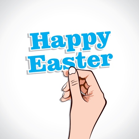 Happy Easter Word In Hand Stock Vector Stock Vector - 17219030