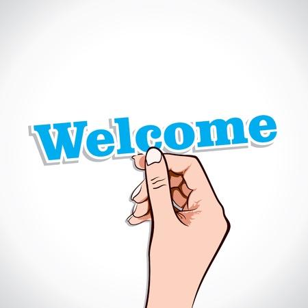 Welcome Word In Hand Stock Vector Stock Vector - 17218966