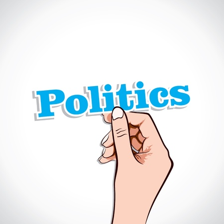 election debate: Politics Word In Hand Stock Vector Illustration