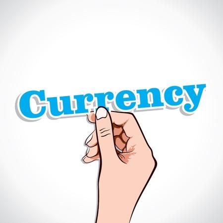 Currency Word In Hand Stock Vector Stock Vector - 17218956