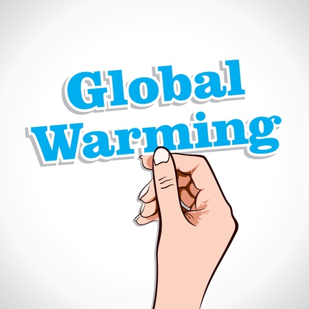 hotter: Global Warming Word In Hand Stock Vector