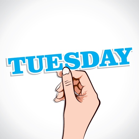 tuesday: Tuesday Word In Hand Stock Vector Illustration