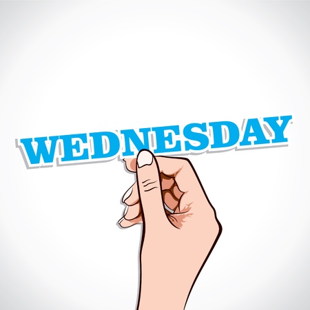 wednesday: Wednesday Word In Hand Stock Vector