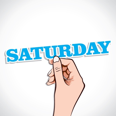 Saturday Word In Hand Stock Vector Vector
