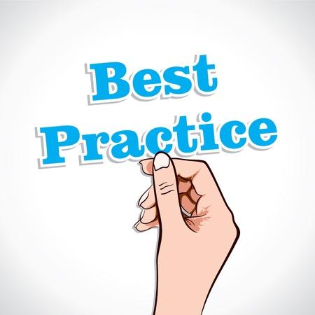 практика: Best practice Word In Hand Stock Vector