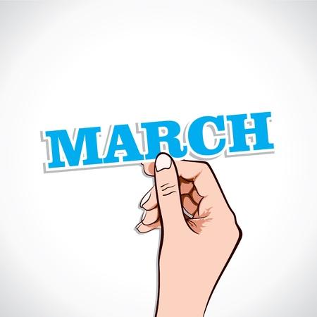 March Word In Hand Stock Vector Stock Vector - 17218924