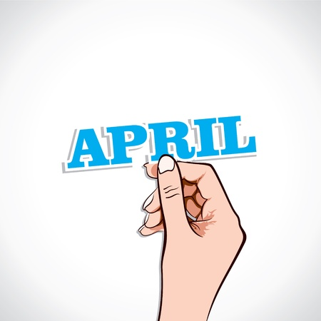 April Word In Hand Stock Vector Vector