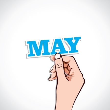May Word In Hand Stock Vector Vector
