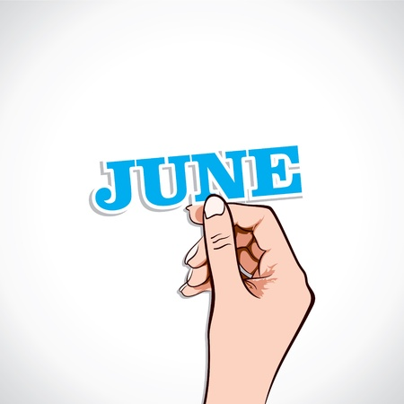June Word In Hand Stock Vector Vector
