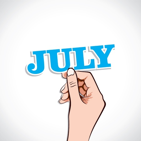 July Word In Hand Stock Vector Vector