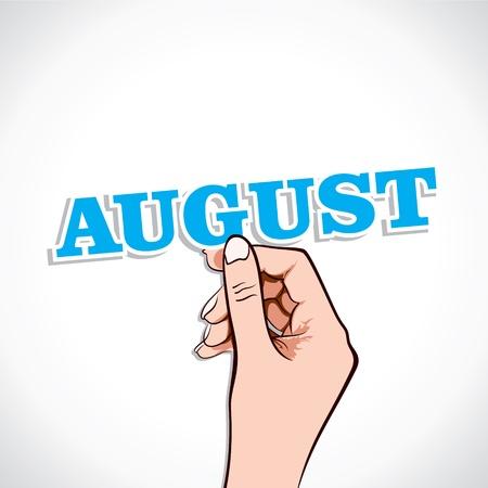 August Word In Hand Stock Vector Stock Vector - 17218933
