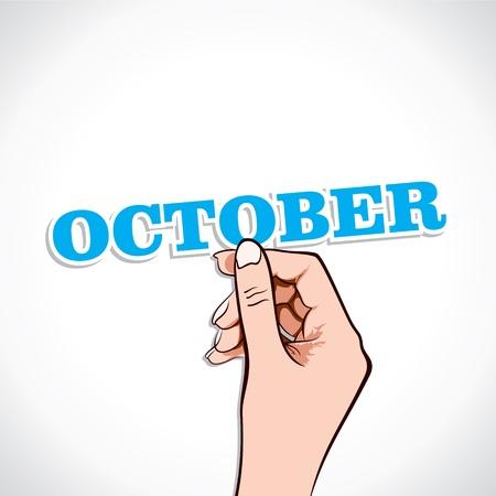 October Word In Hand Stock Vector Stock Vector - 17218953