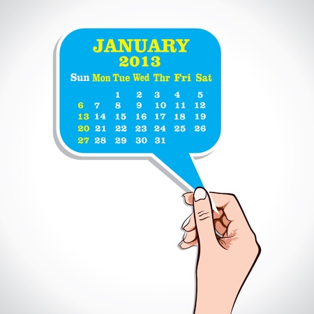 January 2013 Calender In Hand Stock Vector Stock Vector - 17219065