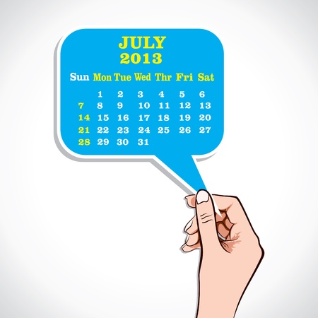 July 2013 Calender In Hand Stock Vector  Vector