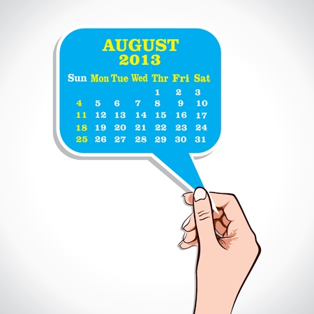 August 2013 Calender In Hand Stock Vector Stock Vector - 17218637