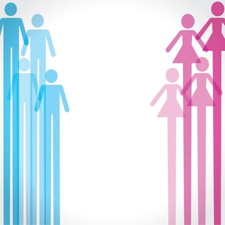 planificación familiar: icono del hombre y de la mujer de fondo stock vector
