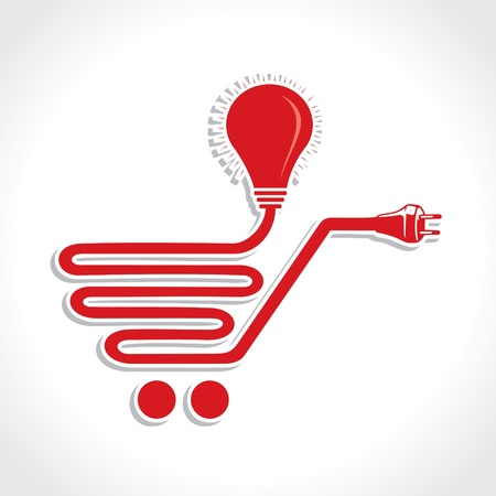 car plug:  Wired Shopping Cart Icon with bulb and plug stock vector