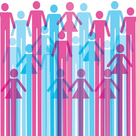gender symbol:  Group of colorful male and female icon background  Illustration