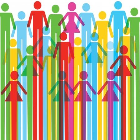 Gruppe von bunten männlichen und weiblichen Symbol Hintergrund Illustration