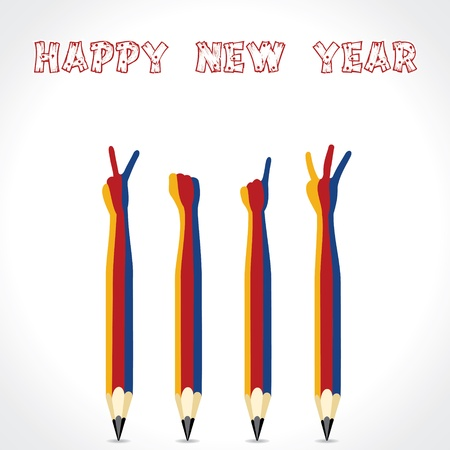 New year greeting with pencil finger,2013 Vector