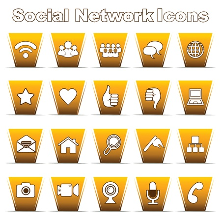 Set of Social Network Icons Stock Vector - 17214896