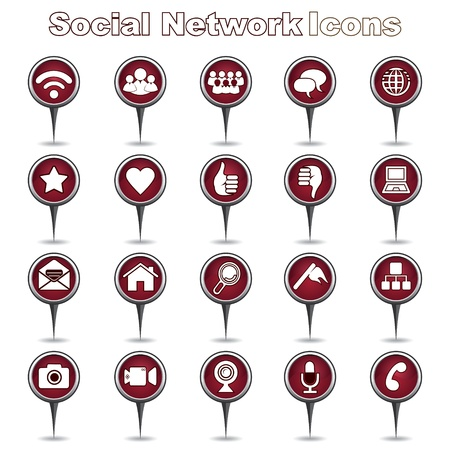 Set of Social Network Icons Stock Vector - 17214903